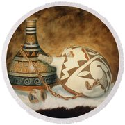Oil Painting - Indian Pots Round Beach Towel