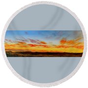 Oil Painting - When The Clouds Turn Red Round Beach Towel