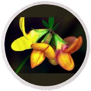 Yellow And Orange Trefoil  Round Beach Towel
