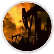 Oil Pumps Round Beach Towel