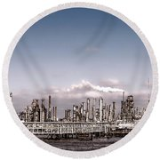 Oil Refinery Round Beach Towel