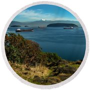 Oil Tankers Waiting Round Beach Towel