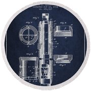 Oil Well Packer Patent From 1904 - Navy Blue Round Beach Towel