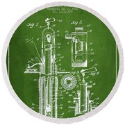 Oil Well Pump Patent From 1912 - Green Round Beach Towel