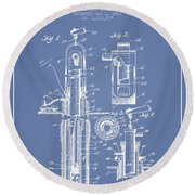 Oil Well Pump Patent From 1912 - Light Blue Round Beach Towel