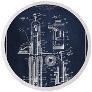 Oil Well Pump Patent From 1912 - Navy Blue Round Beach Towel