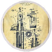 Oil Well Pump Patent From 1912 - Vintage Round Beach Towel