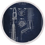 Oil Well Reamer Patent From 1924 - Navy Blue Round Beach Towel