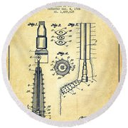 Oil Well Reamer Patent From 1924 - Vintage Round Beach Towel