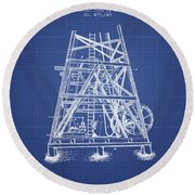 Oil Well Rig Patent From 1893 - Blueprint Round Beach Towel