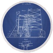 Oil Well Rig Patent From 1917 - Blueprint Round Beach Towel