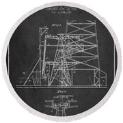 Oil Well Rig Patent From 1917- Dark Round Beach Towel