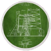 Oil Well Rig Patent From 1917- Green Round Beach Towel