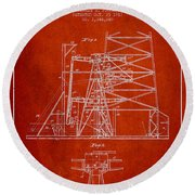 Oil Well Rig Patent From 1917- Red Round Beach Towel