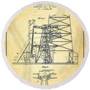 Oil Well Rig Patent From 1917- Vintage Round Beach Towel