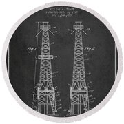Oil Well Rig Patent From 1927 - Dark Round Beach Towel
