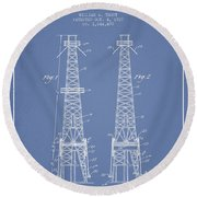 Oil Well Rig Patent From 1927 - Light Blue Round Beach Towel