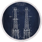 Oil Well Rig Patent From 1927 - Navy Blue Round Beach Towel