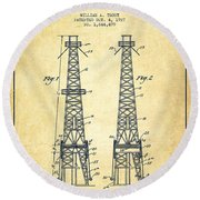 Oil Well Rig Patent From 1927 - Vintage Round Beach Towel