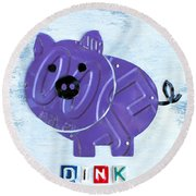 Oink The Pig License Plate Art Round Beach Towel