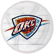 Okc Thunder Basketball Team Retro Logo Vintage Recycled Oklahoma License Plate Art Round Beach Towel