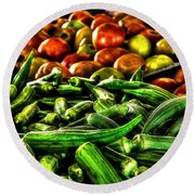 Okra And Tomatoes Round Beach Towel