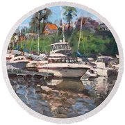 Olcott Yacht Club Round Beach Towel