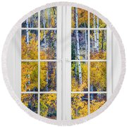 Old 16 Pane White Window Colorful Fall Aspen View  Round Beach Towel