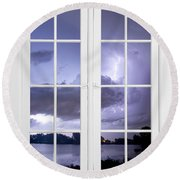 Old 16 Pane White Window Stormy Lightning Lake View Round Beach Towel