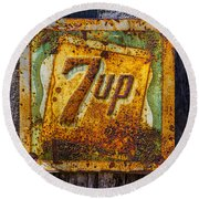 Old 7 Up Sign Round Beach Towel