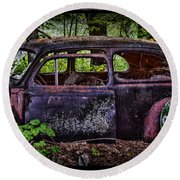 Old Abandoned Car In The Woods Round Beach Towel