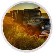 Old Abandoned Farm Truck Round Beach Towel