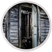 Old Abandoned Well House With Door Ajar Round Beach Towel by Edward Fielding