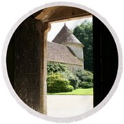 Old Abbey Church Door - Abbey Fontenay Round Beach Towel