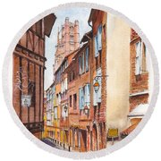 Old Albi The Pink City Of South West France Round Beach Towel