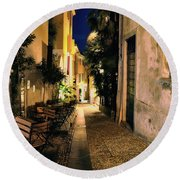 Old Alley At Night Round Beach Towel
