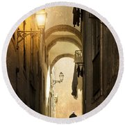 Old Alley Round Beach Towel by Carlos Caetano