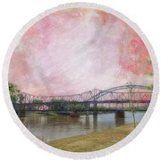 Old Amelia Earhart Bridge Round Beach Towel