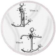 Old Anchor Patent Round Beach Towel