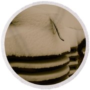 Old And Cold Round Beach Towel