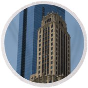 Old And New Architecture Round Beach Towel