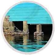 Old Aqua Boat Shed With Aqua Reflections Round Beach Towel by Kaye Menner
