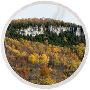 Old Baldy In Fall Round Beach Towel