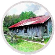 Old Barn Along Golden Road Filtered Round Beach Towel