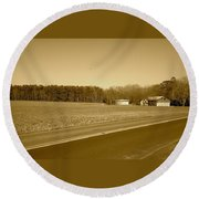 Old Barn And Farm Field In Sepia Round Beach Towel