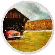Old Barn And Red Truck Round Beach Towel