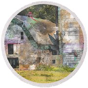 Old Barn And Silos Digital Paint Round Beach Towel