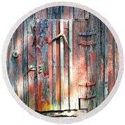 Old Barn Door 2 Round Beach Towel
