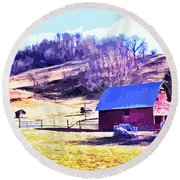 Old Barn In November Filtered Round Beach Towel