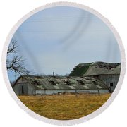 Old Barns In The Heartland Round Beach Towel by Alys Caviness-Gober